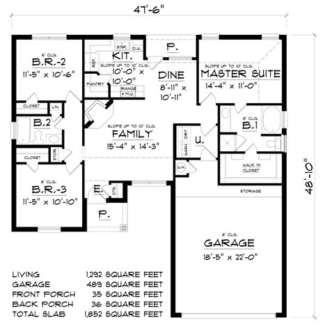 House Plan 60832 Traditional Style with 1292 Sq Ft 3