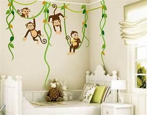 wandtattoo babyzimmer affen dschungel safari noyk28 With balkon teppich mit 3d tapeten für kinder