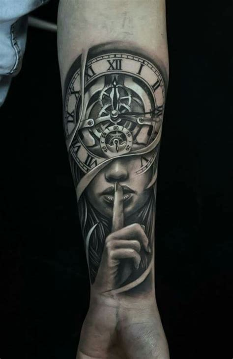 awesome clock tattoos  women  men cool arm
