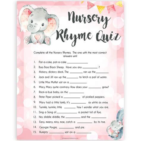 nursery rhyme quiz game pink elephant printable baby