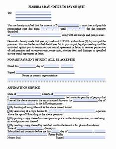 free florida eviction notice template 3 day notice to With notice to pay rent or quit template