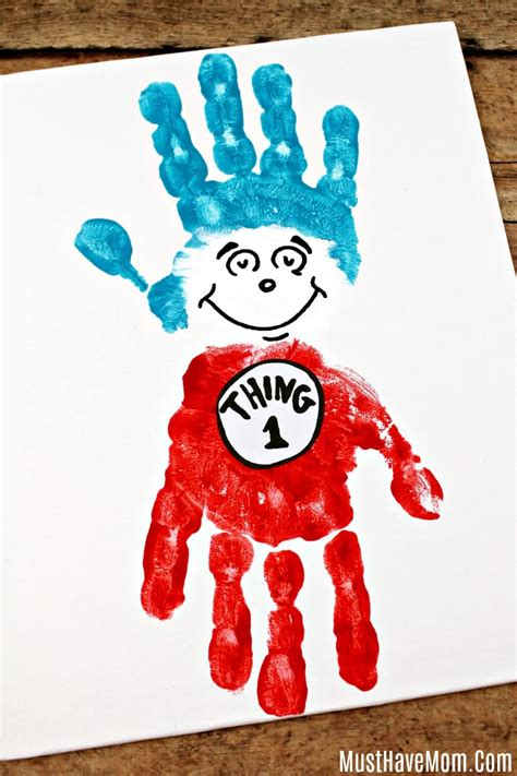 dr seuss crafts thing 1 and thing 2 handprint painting 293 | preschool dr seuss craft