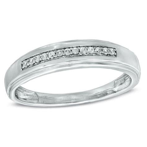 men s diamond accent wedding band in 10k white gold wedding bands wedding zales