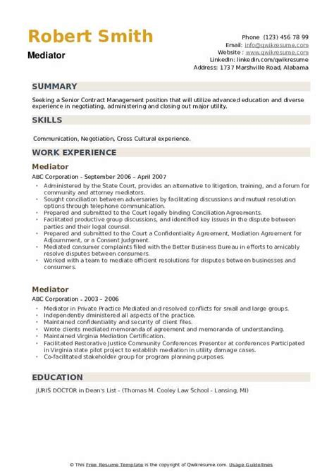 mediator resume samples qwikresume