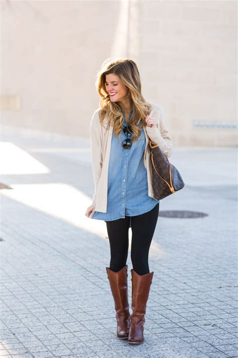 Oversized Chambray with Leggings and Brown Riding Boots