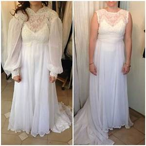 before l after r bride in her mother39s wedding dress With adding sleeves to a wedding dress before and after