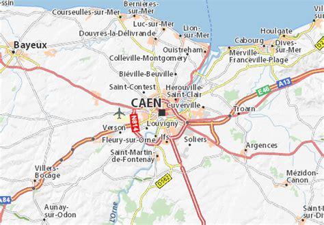 Carte Normandie Michelin by Carte D 233 Taill 233 E Caen Plan Caen Viamichelin