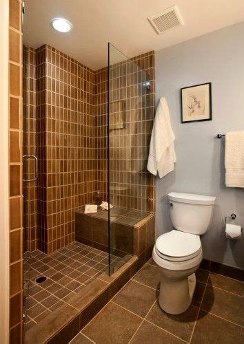 Bathroom Addition Steps by Shower With Bench Glass Door And Floor Tile On Step And