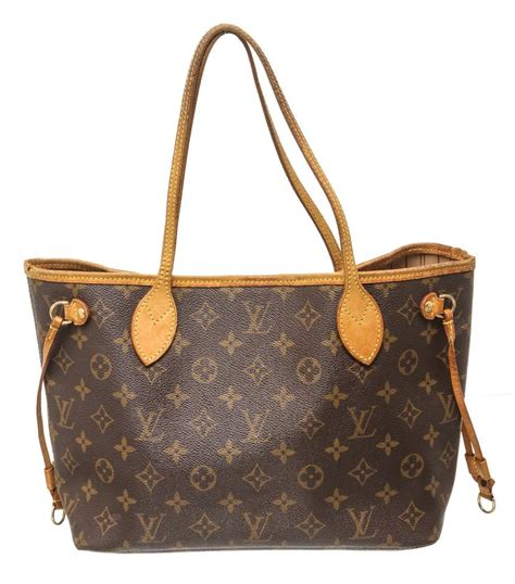 louis vuitton neverfull bag leather pm brown monogram