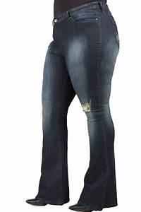 Plus Size Poetic Justice Kylie Womenu0026#39;s Bootcut Jeans Distressed Denim u0026 24u0026quot; Flare (Unforgiven Wash)
