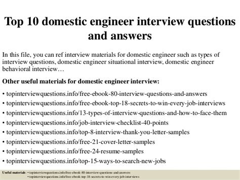 Domestic Engineer Resume Description by Top 10 Domestic Engineer Questions And Answers
