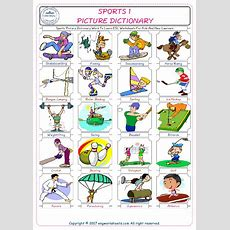 Sports Picture Dictionary Word To Learn Esl Worksheets For Kids And New Learners