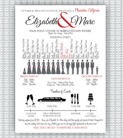 items similar to wedding ceremony program silhouette bridal w timeline on etsy
