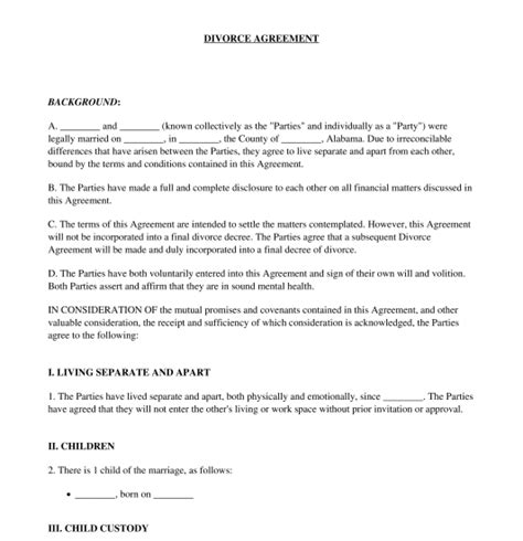 divorce agreement sample template word