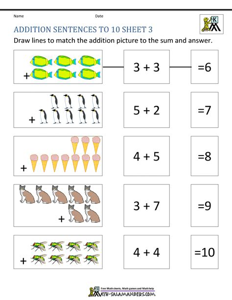 Number Sentences Worksheets For Kindergarten  Kidz Activities