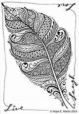 Coloring Feather Abstract Drawings Letscolorit Adults Zentangle Colouring Feathers Line Shape sketch template