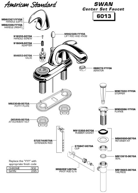 bathroom sink faucet parts plumbingwarehouse american standard bathroom faucet parts