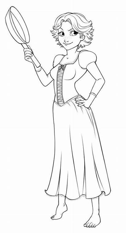 Rapunzel Hair Short Coloring Pages Lineart Deviantart