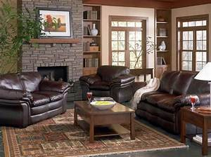 Elegant living room decorating ideas with brown leather for Furniture for one room living