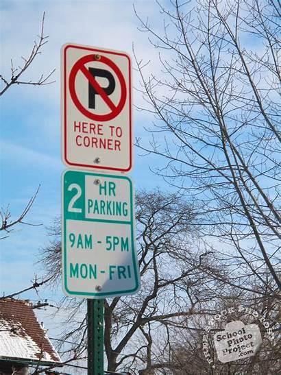 Parking Sign Corner Signs Street Traffic Royalty