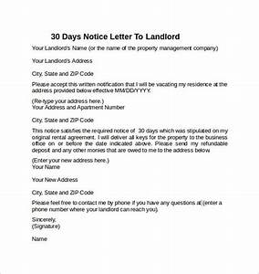 30 days notice letter to landlord 7 download free With 30 letters