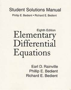 Elementary Differential Equations 8th Edition Solutions