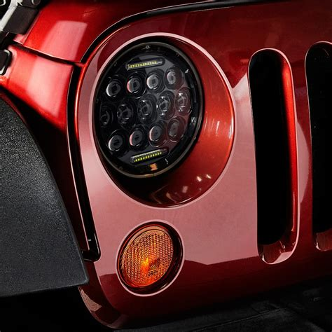 jeep black headlights lumen jeep wrangler 2013 7 quot round black led projector