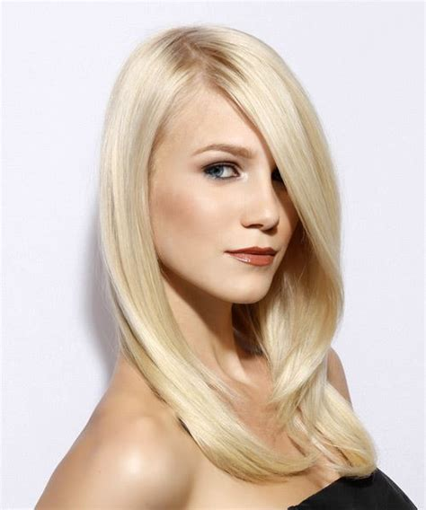 formal long straight hairstyle with side swept bangs
