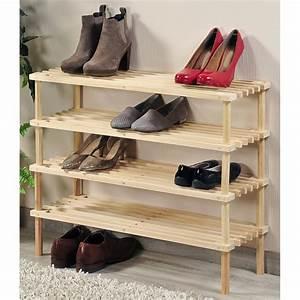 Petit Rangement Chaussures : range chaussures pin 2 niveaux ac deco ~ Teatrodelosmanantiales.com Idées de Décoration
