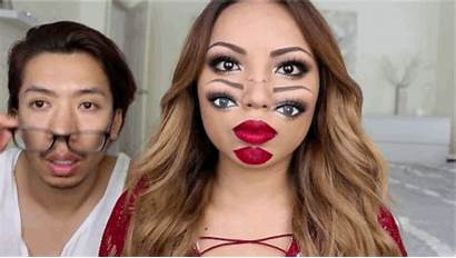 Makeup Trippy Halloween Double Face Animated Costume