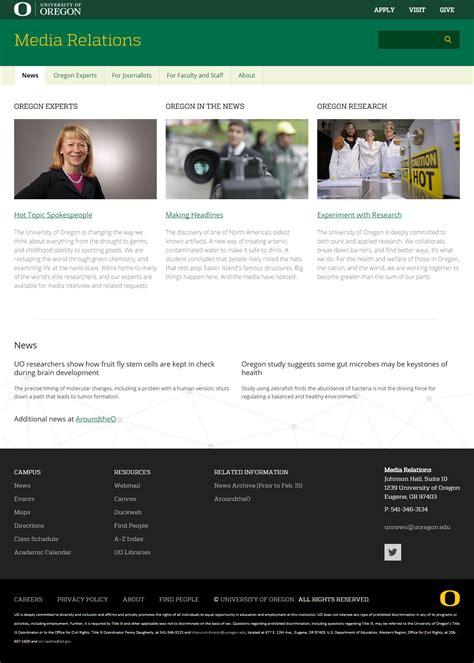website design examples university communications