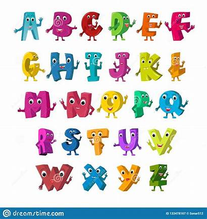 Capital Cartoon Letters Illustration Funny Vector Alphabet