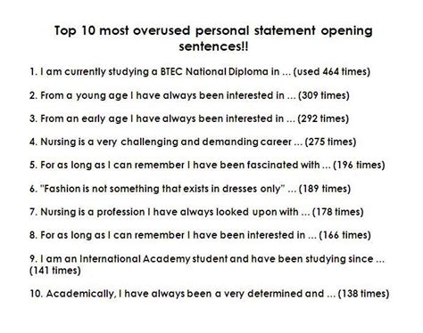 overused sentences  personal statements