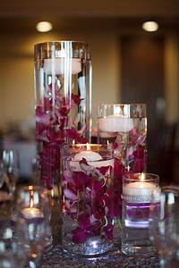 Purple, Orchid, And, Floating, Candle, Centerpieces