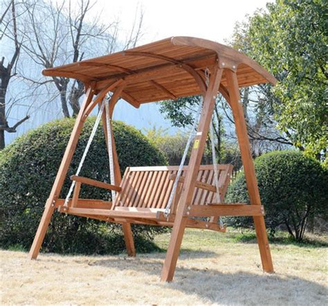 Outsunny 3seater Larch Wood Swing Chair Bench