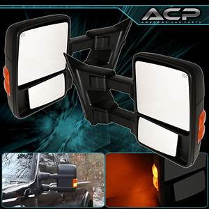 Pair Black Extend Towing Side Power Mirrors 2008