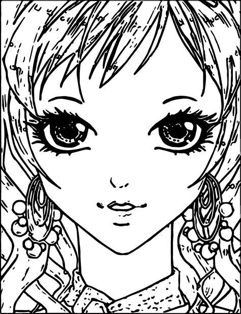 cool Manga Small Girl Face Coloring Page Dinosaur