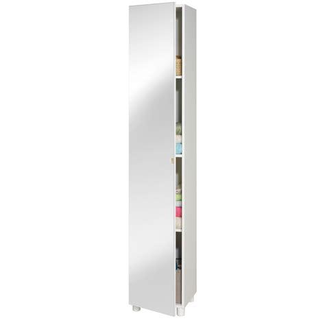 colonne chambre colonne 1 porte miroir longueur 35 x hauteur 187cm blanc
