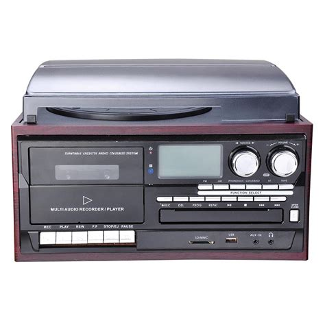 cassette cd radio player bluetooth lcd vinyl record player play cd cassette mp3