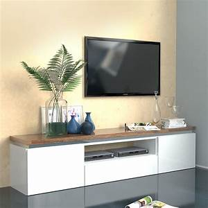 Meuble Tv Banc : meuble tv blanc bois meuble tv avec etagere trendsetter ~ Teatrodelosmanantiales.com Idées de Décoration