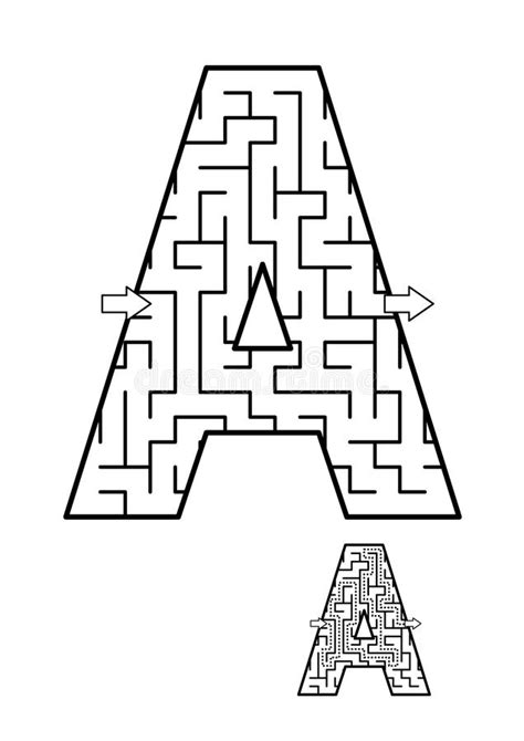 Back To School ABC Activity - Letter A Maze For Kids Stock