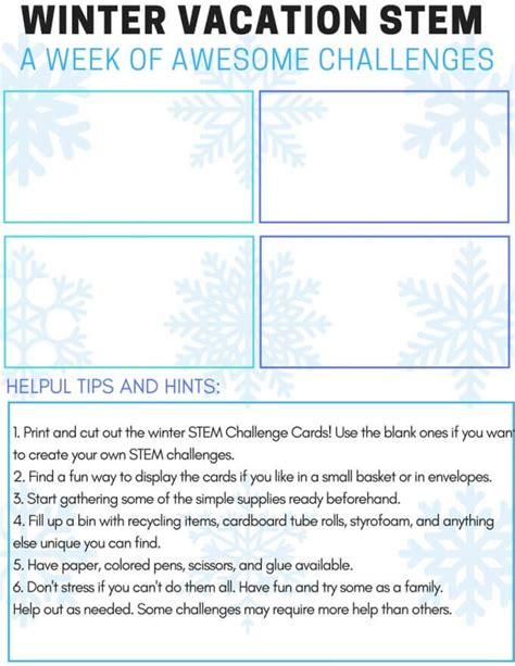 winter stem challenge activity cards  kids  printable