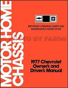 1977 Chevolet Motor Home Chassis Owners Manual Chevy P30