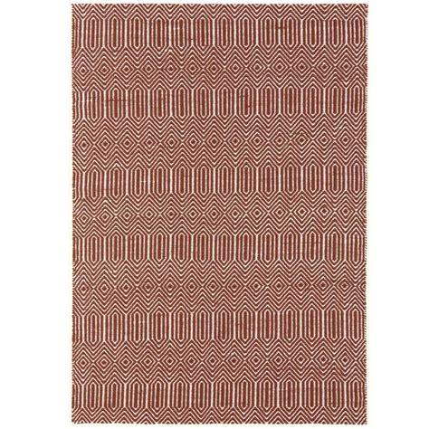 tapis design rouge  blanc geometrique en coton  laine