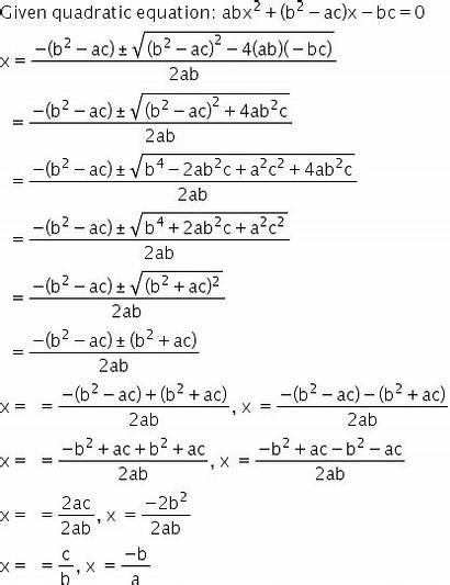 Quadratic Formula Equation Roots Ac Bc Using
