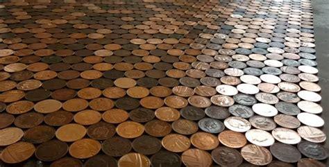 Woman creates amazing coin floor! (photos video