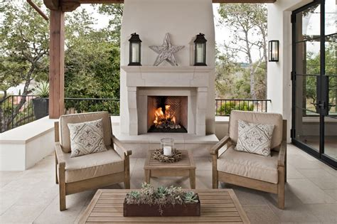 austin freestanding outdoor fireplace porch contemporary