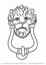 Draw Doorknocker Drawing Step sketch template