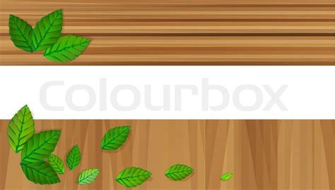 vector wooden banners  leaves stock vector colourbox