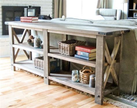 plans rustic sofa table plans  oak plywood